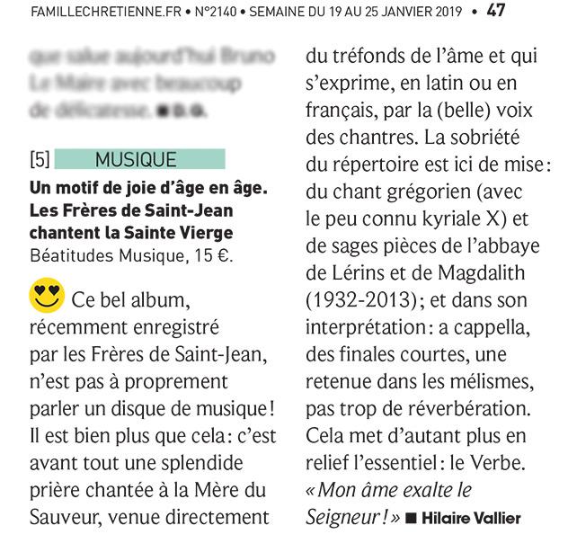 Frères de Saint-Jean : Recension Famille Chrétienne pour le CD Un motif de Joie
